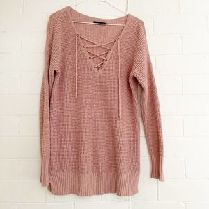 AMERICAN EAGLE Pink Rose Lace Up Knit Sweater Med